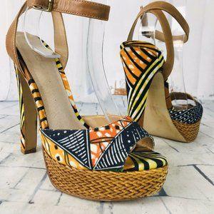 ALDO African Print Platform Ankle Strap Heels 6.5
